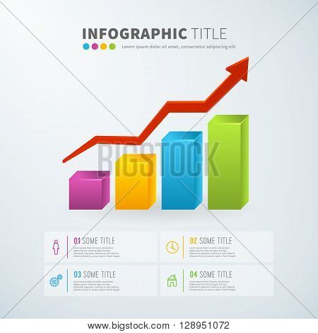 Business infographic positive growth bar chart statistics with icons for reports and presentations. Vector illustration.