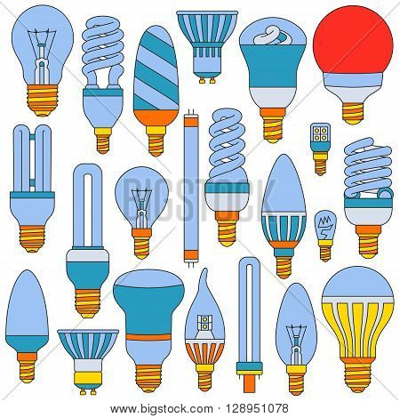 Ligth lamps set. Colored outlined icons isolated on the white. Vector illustration.