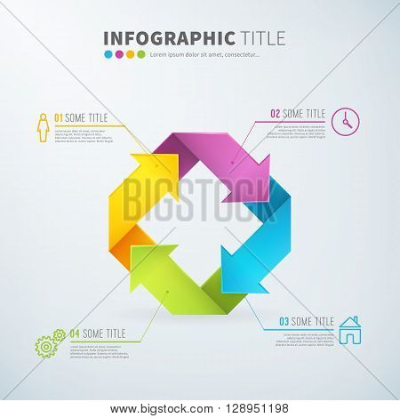 Business infographic rotate arrow sign time laps with useful icons for reports and presentations. Vector editable illustration.