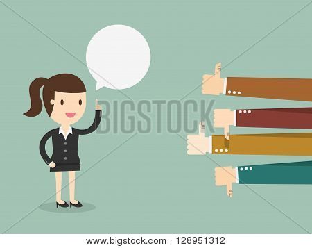 Feedback business woman talking and positive and negative concepts with thumbs up and down