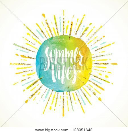 Summer vibes - Summer calligraphy. Summer vacation. Summer sunburst. Summer quote. Summer phrase. Summer greeting. Summer vector. Summer illustration. Summer lettering. Summer sunshine. Summer sun.