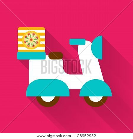 Free delivery service vector illustration. Simple scooter presented on a colorful red background with long trendy shadow in a back. Very easy to edit illustration.