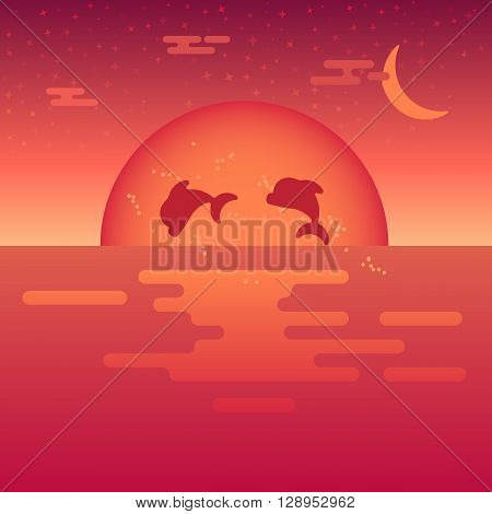 Beautiful sunset at the sea with the jumping dolphins in a front. Tropical warm illustration with the sun and sea in gradient color. Fully vector. Easy to edit