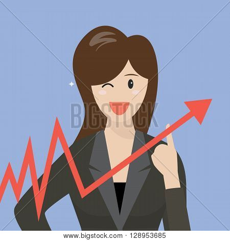 Business woman pointing at growth graph. vector illustration