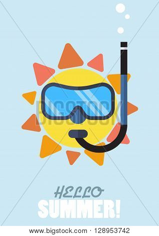 Hello summer with sun wearing diving mask and snorkel. vector illustration