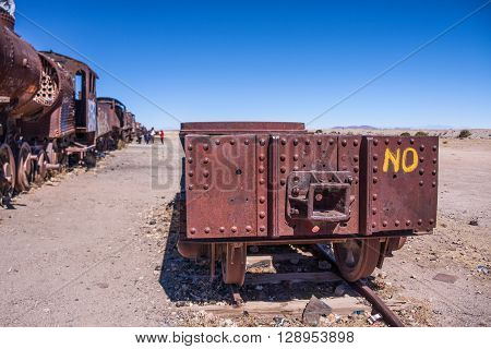 Old rusted train detail at train cemetery near salar uyuni in Bolivia