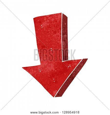 freehand retro cartoon arrow pointing down