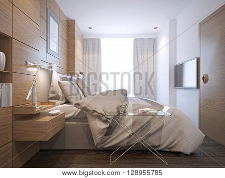 Bright bedroom loft style. Mid-sized room with medium tone hardwood floors and white walls. 3D render