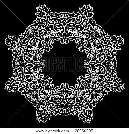 Round Frame - floral lace ornament - white on black background. Element for holiday card wedding invitation vintage style design.