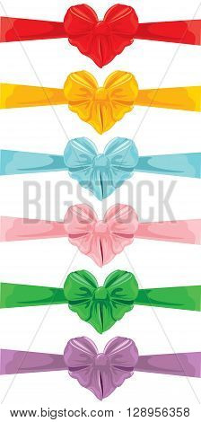 Set of different colors bows in heart shape isolated on white background. Element for holidays cards Birthday Valentines Day wedding invitation etc.