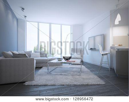 Contemporary living room studio interior. 3D render