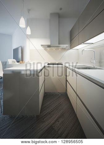 Techno kitchen interior, glossy furniture. 3D render