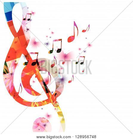 Colorful music background with notes. Vector illustration