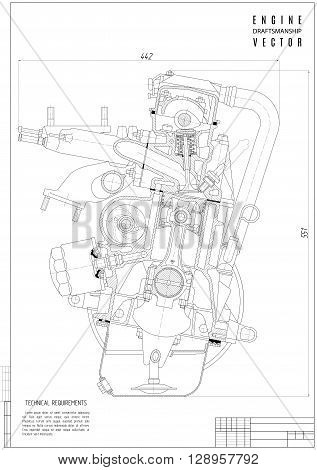 technical drawing engine construction project or plan with vertical frame on the white background. stock vector illustration eps10