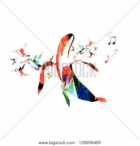 Vector illustration of colorful bannana with hummingbirds
