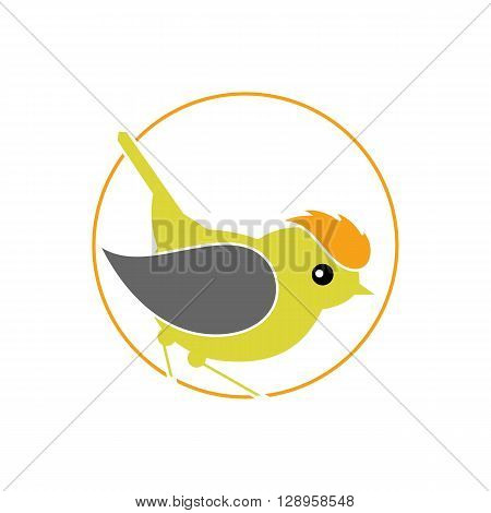 Stylized Bird - Firecrest Goldcrest Wren inside circle isolated on the white background.