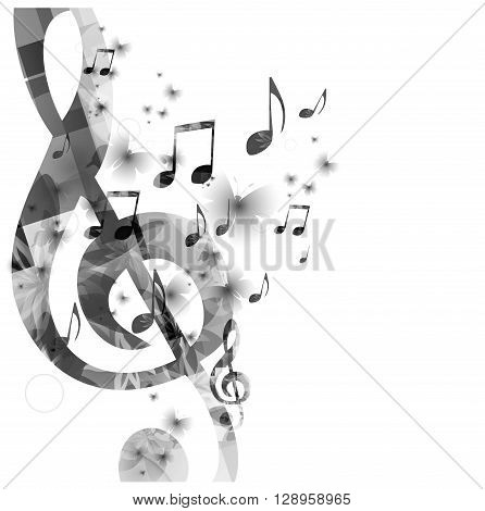 Music background with g-clef and notes. Vector