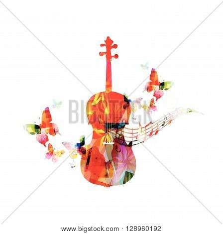 Colorful violoncello with butterflies with butterflies. Vector