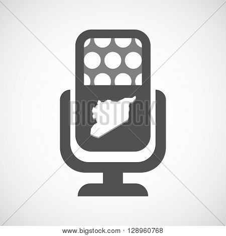 Isolated Mic Icon With  The Map Of Syria