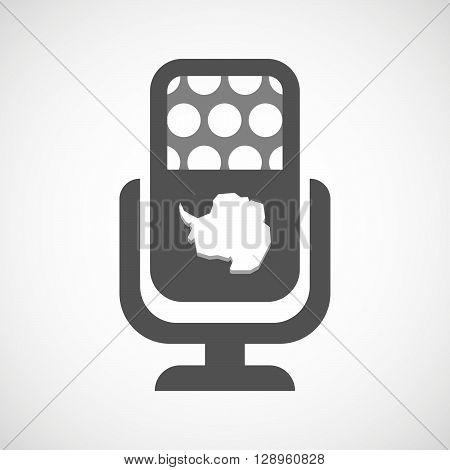 Isolated Mic Icon With  The Map Of  Antarctica