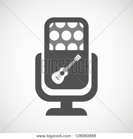 Isolated Mic Icon With  An Ukulele
