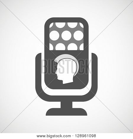 Isolated Mic Icon With  A Male Punk Head Silhouette