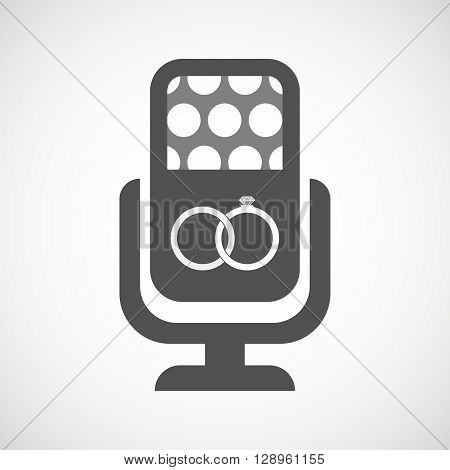 Isolated Mic Icon With  Two Bonded Wedding Rings