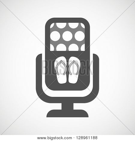 Isolated Mic Icon With   A Pair Of Flops