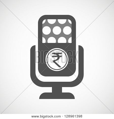 Isolated Mic Icon With  A Rupee Coin Icon
