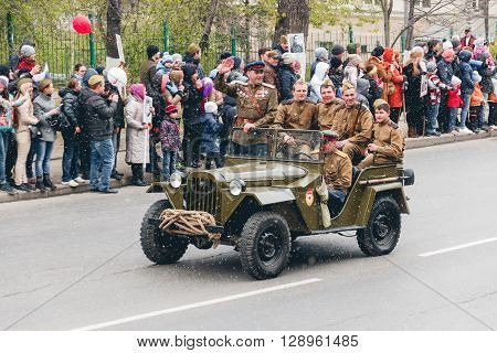 TOMSK, RUSSIA - MAY 9, 2016: Russian military transport at the parade on annual Victory Day, May, 9, 2016 in Tomsk, Russia.