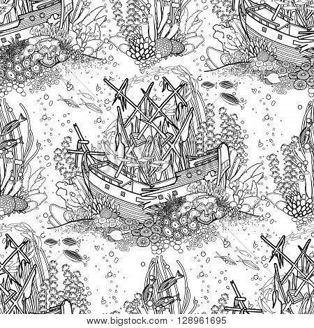 Ancient sunken ship and coral reef drawn in line art style. Ocean seamless pattern in black and white colors. Coloring book page design.