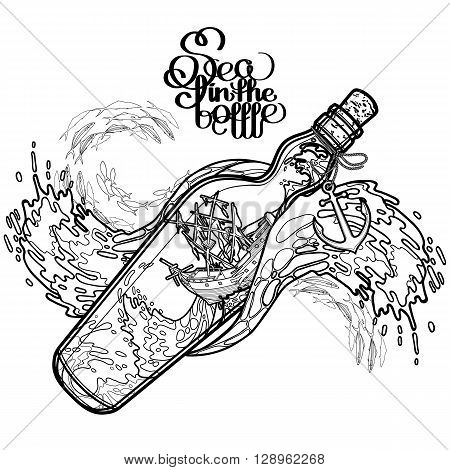 Ancient sunken ship during a storm in the bottle. Travel memories collection. Vector marine design isolated on white background. Coloring book page design