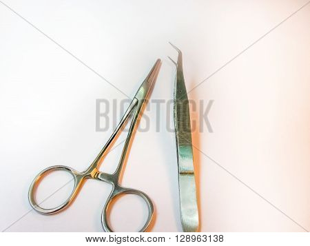 Minor Surgery Instruments on the white table.