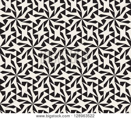 Vector Seamless Black and White Geometric Star Lattice Pattern Abstract Background