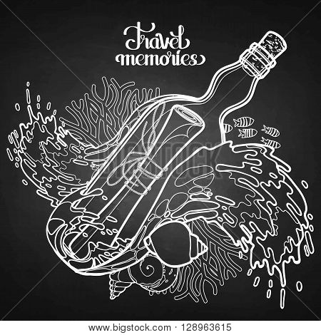 Message in the bottle among the storm waves.  Travel memories collection. Vector marine design isolated on chalkboard