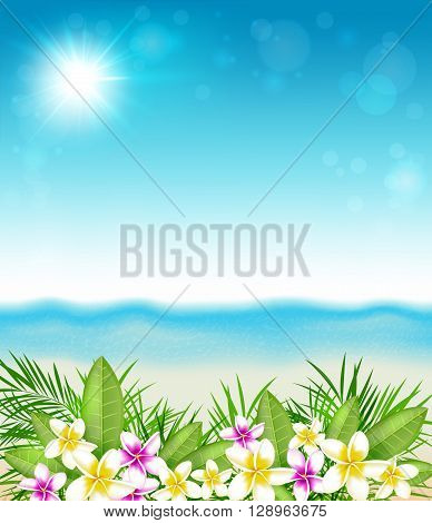 Tropical summer background with flowers and leaves. Pink and yellow tropical flowers and beach.
