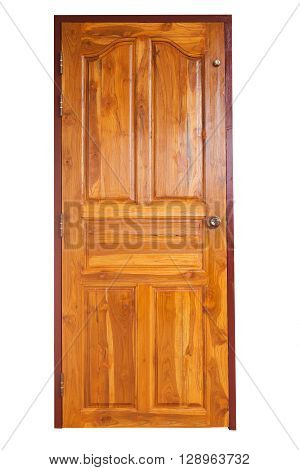 brown wood door with door knob and keyhole in residential house