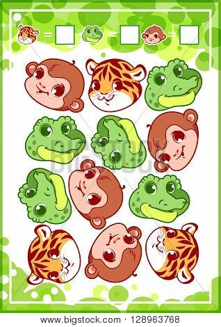 Education counting game for preschool kids with funny animals. How many tigers monkeys and alligators do you see? Cartoon vector illustration.