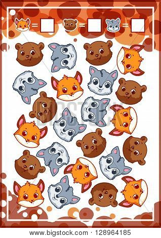 Education counting game for preschool kids with funny animals. How many foxes bears and wolfs do you see? Cartoon vector illustration.