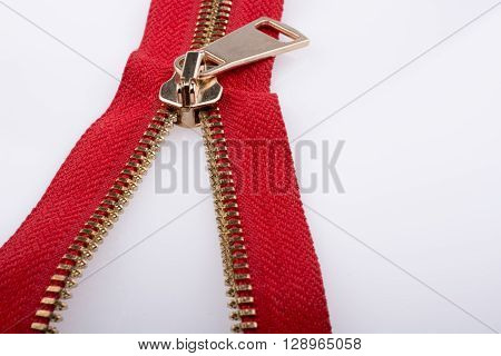 red color zipper on a white background