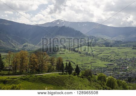 Hiking in the mountains aerial view. Environment protection theme