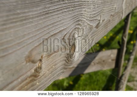 Old wooden fence private property border close view