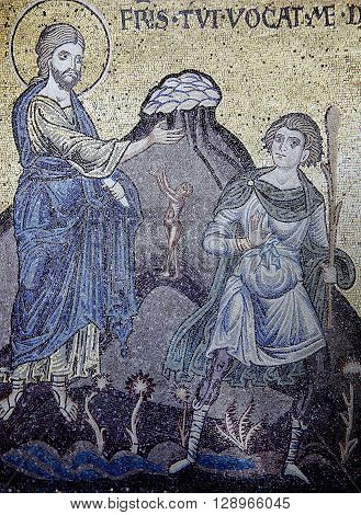 Mosaic In Monreale Cathedral, Monreale, Sicily, Italy