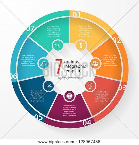 Vector business pie chart template for graphs charts diagrams. Business circle infographic concept with 7 options parts steps processes.