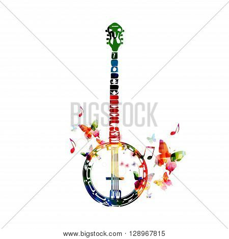 Colorful banjo design with butterflies. Vector illustration