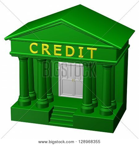 Concept: Credit isolated on white background. 3D rendering.