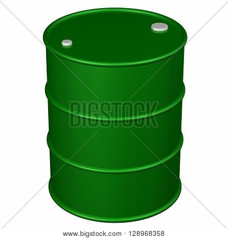 Green barrel isolated on white background. 3D rendering.