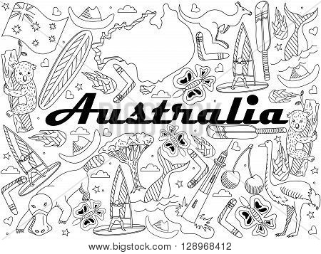 Vector line art Doodle set of cartoon characters and objects on Australia. Coloring Book
