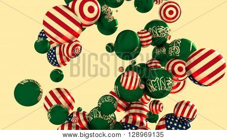 Large group of orbs or spheres levitation in empty space. 3D rendering. USA and Saudi Arabia flags