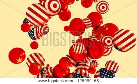 Large group of orbs or spheres levitation in empty space. 3D rendering. USA and China flags
